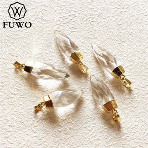 Image 1 - FUWO Carved Crystal Quartz Point Pendant 24k Gold Electroplated Natural Semi precious Stone Jewelry Accessories Wholesale PD136
