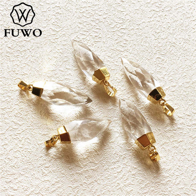FUWO Carved Crystal Quartz Point Pendant 24k Gold Electroplated Natural Semi precious Stone Jewelry Accessories Wholesale PD136