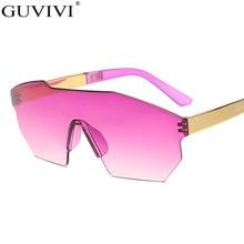 Women Blue Pink Eyeglasses Oversized Frame Irregular Sunglasses Gradient Framele