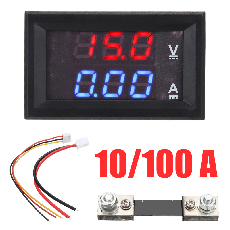 <font><b>50A</b></font> Mini Digital <font><b>Voltmeter</b></font> <font><b>Ammeter</b></font> <font><b>DC</b></font> <font><b>100V</b></font> <font><b>50A</b></font> <font><b>Voltmeter</b></font> <font><b>Ammeter</b></font> Voltage Amp Meter Tester LED Dual Display image