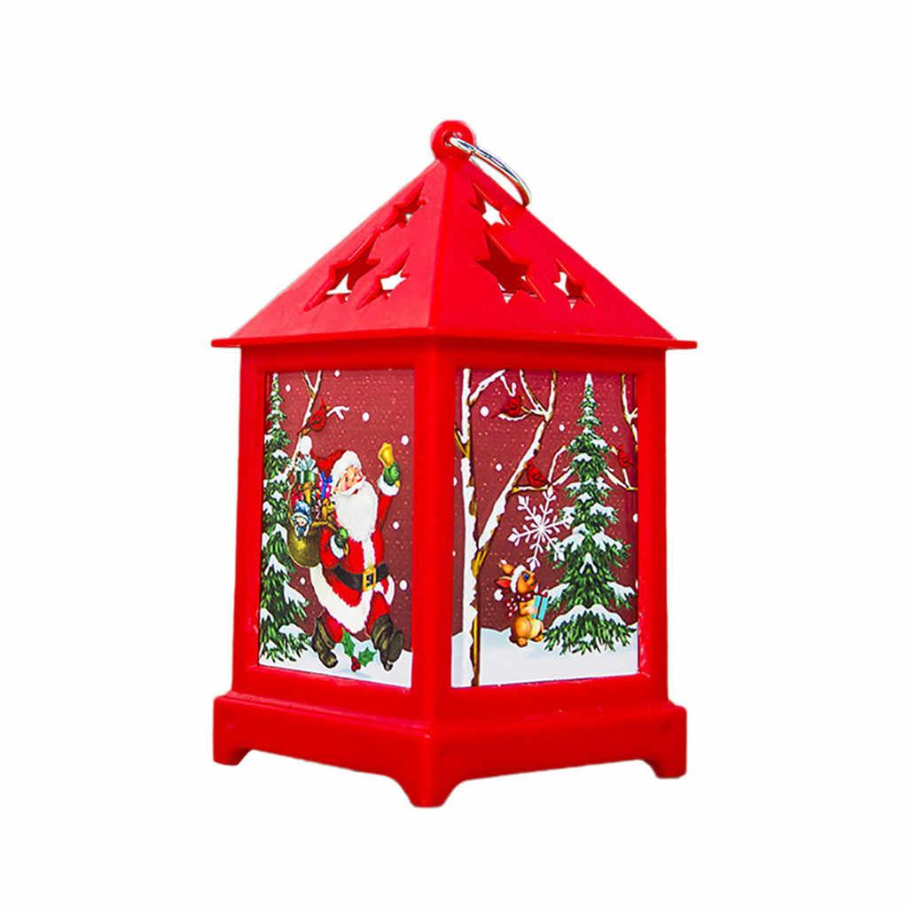 Pequeña casa de madera de Navidad con luces Minil colgante decoración ornamentos decoración del hogar Linda Mini lámpara colgante fiesta niños regalo