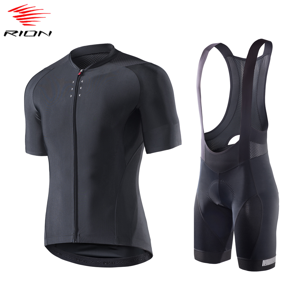 RION Men Summer Cycling  Jersey Set  Short Sleeve Bike Jersey MTB Bicycle Gel Pad Cycling Bib Shorts Ropa Ciclismo Hombre