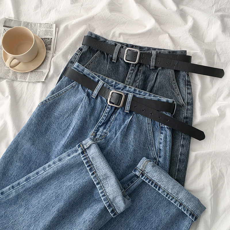 Streetwear Fashion Wide Leg Jeans Women Casual High Waist Straight Loose Trousers With Belt Female Casual Washed Cotton Bottoms