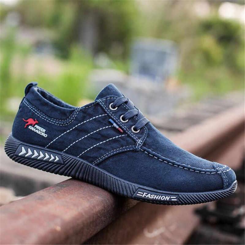 MKTEER 2019 nouvelles chaussures en toile déodorant respirant chaussures pour hommes marée chaussures antidérapantes hommes étudiants cravate décontracté rayures hommes chaussures