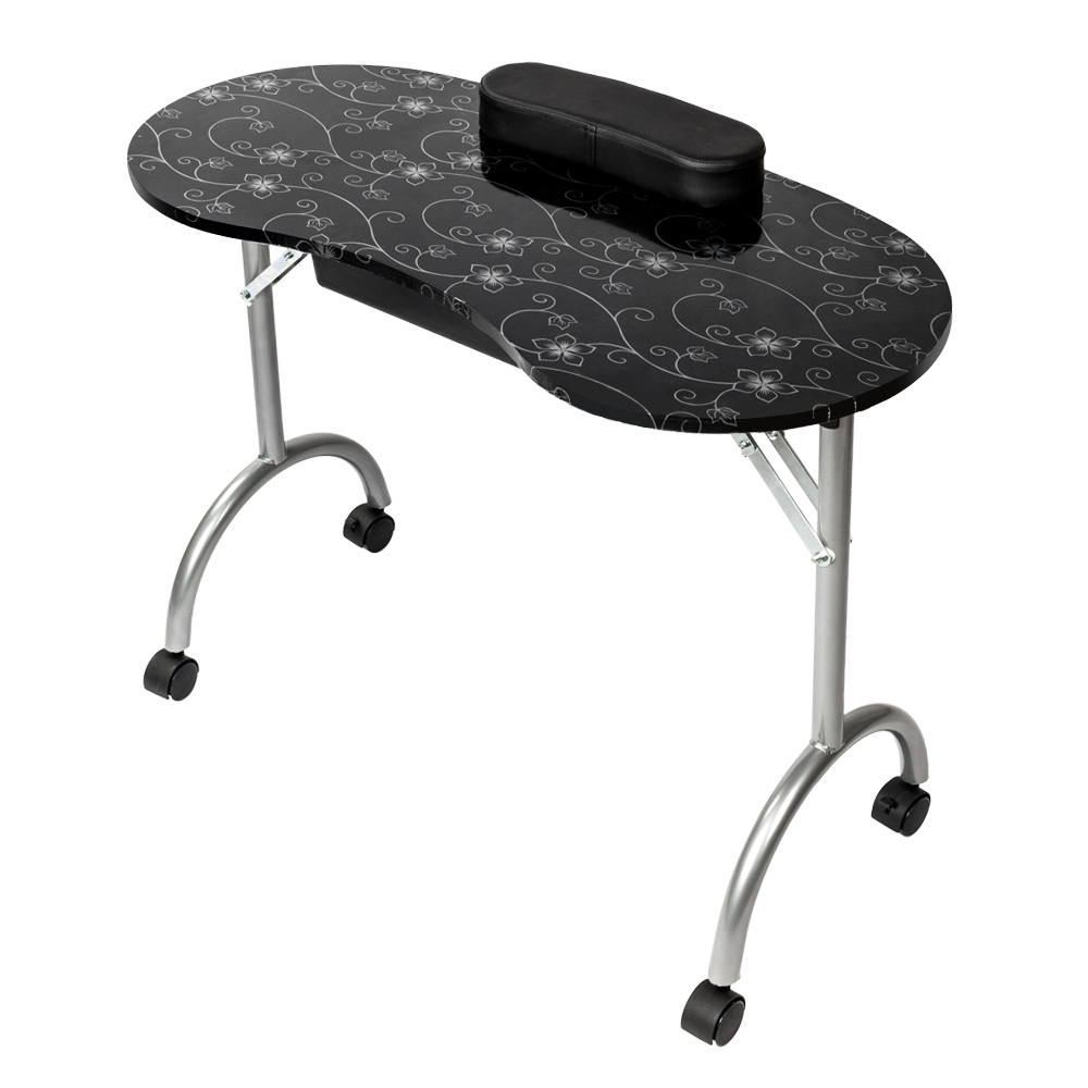 Professional Black MDF Manicure Table with Arm Rest with Drawer Salon Spa Nail Equipment Portable