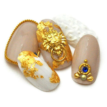 50pcs gold and silver color lion knocker pendant for nail art Japanese trend jewelry 3d retro metal charms