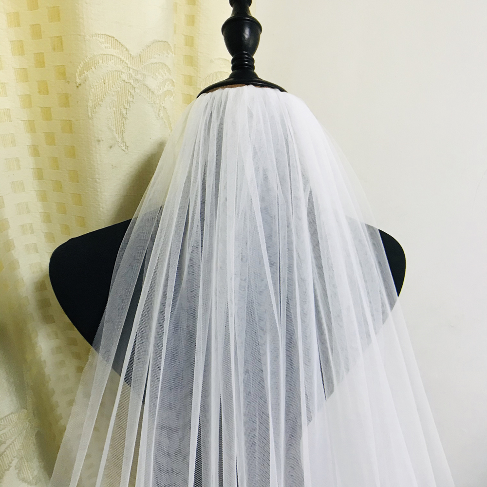 Real Photo 2Meters Long Light edge Ivory veil White veil Tulle Wedding veil Accessories Bridal Veils With Comb