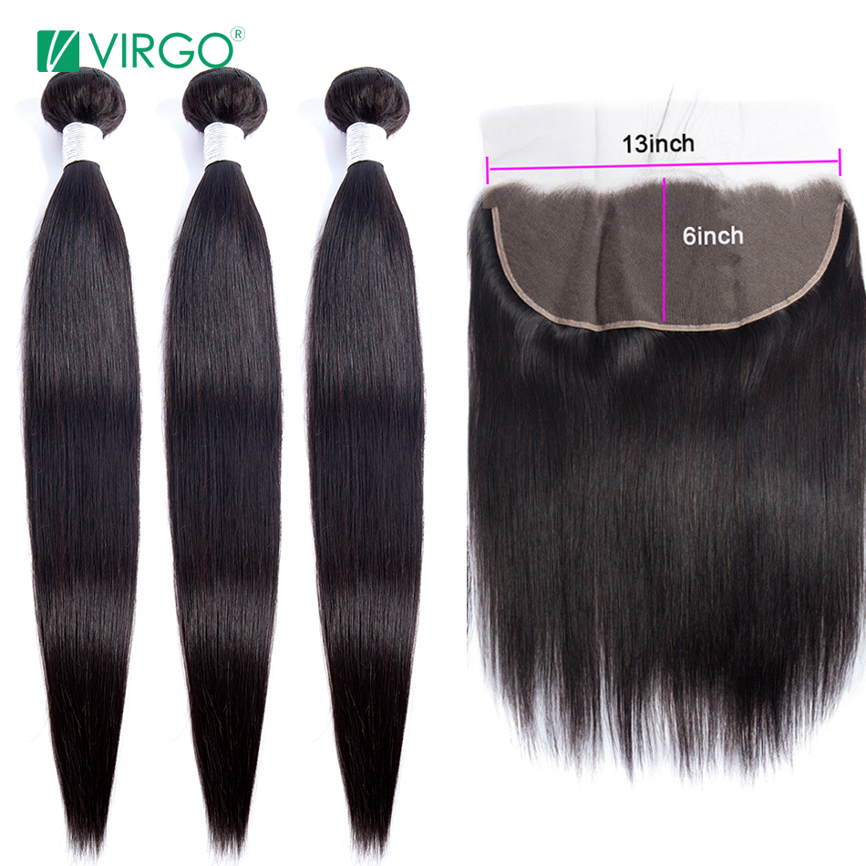 Peruvian Straight Hair Bundles With Closure 13X6 Lace Frontal With Bundles 4 Pcs/lot Human Hair Bundles With Frontal Remy
