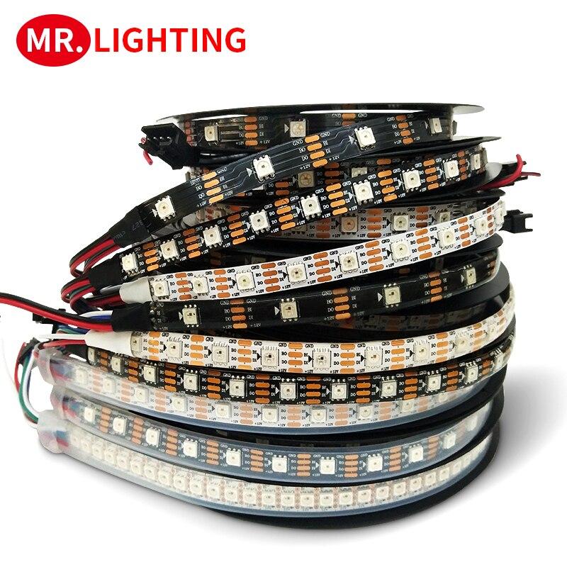 Smart Led Strip Light 1m/2m/3m/4m/5m WS2815 Led Strip Tape,30/60/144 Pixels/leds/m,IP30/IP65/IP67 DC12V Addressable Dual-signal