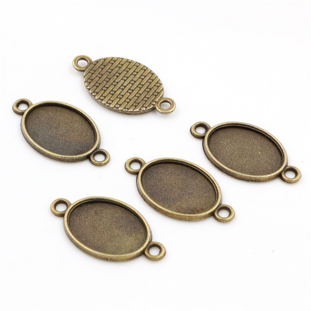 10pcs 13x18mm Inner Size Bronze Simple Style Cameo Cabochon Base Setting Charms Pendant Necklace Findings  (D4-05)