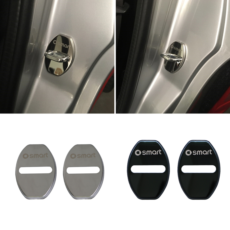 2pcs Stainless Steel Door Lock Cover For 2008-2014 Smart 451fortwo Decorative Rust Protection Cover Car Modification Accessories