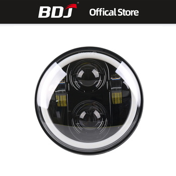BDJ For Harley 5.75inch Motorcycle Metal Projector  LED Front Headlight With Angel Eye Headlight Bracket