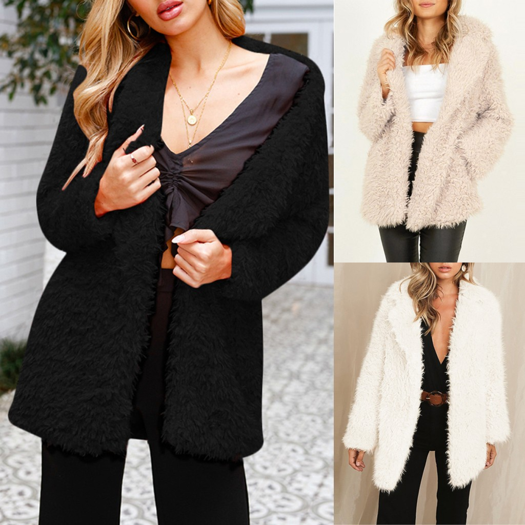 Womens Winter Teddy Bear Thick Warm Fleece Fur Fuzzy Jacket Coat Outwear Tops wool coat fur coat manteau femme ropa mujer 1
