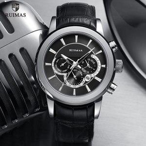 Image 3 - RUIMAS Automatische Militär Uhren Wasserdicht Sport Armbanduhr Lederband Mechanische Uhr Mann Relogios Masculino Uhr 6767
