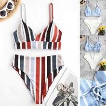 Juego de Bikini estilo Push Up mujeres de cintura alta de dos piezas de dibujo de almazuela dividir conjuntos de talla grande ropa de playa, traje de baño Bikini de Biquinis Feminino