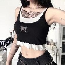 Goth menina punk gótico camisola feminina borboleta diamante impressão sem alças colete harajuku streetwear escuro sexy preto regata femme