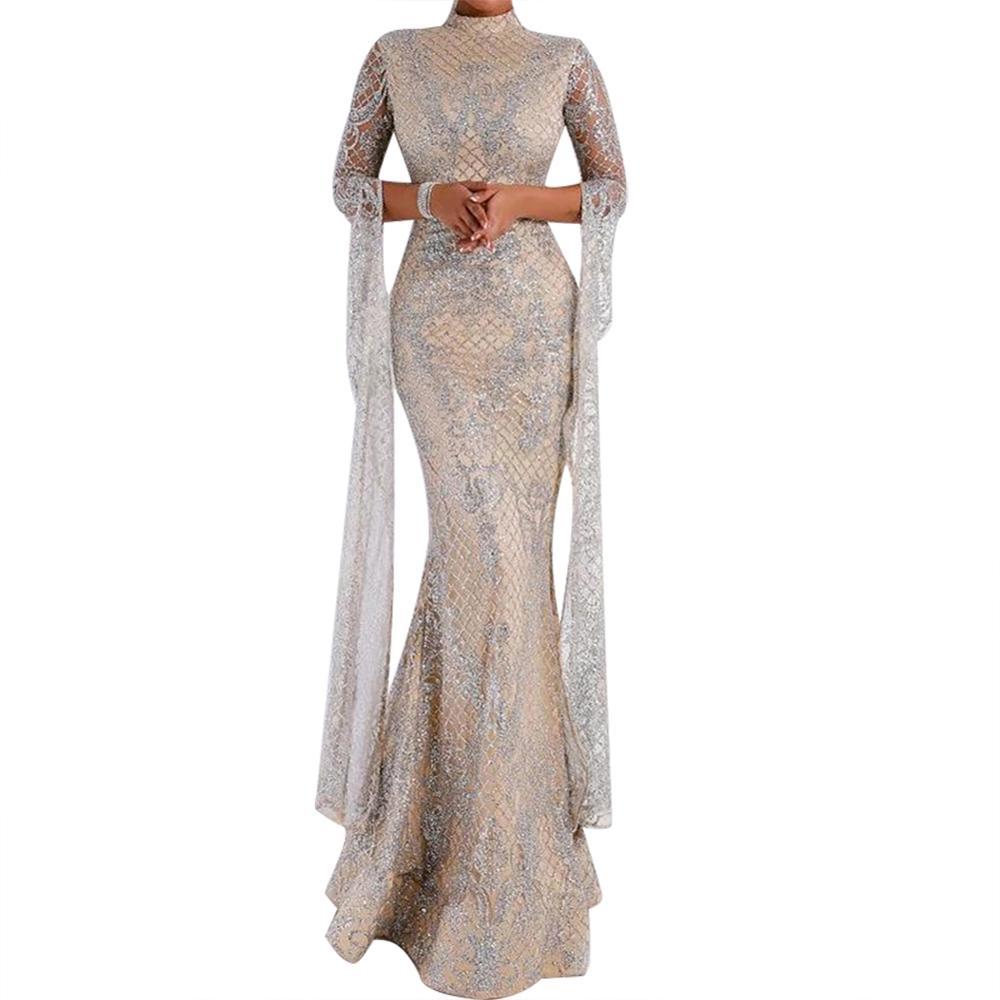 Echoine Women Silver Slim Maxi Dress Long Sleeve Party Autumn Winter Sexy Elegant Sundress Female Vintage Wed Ladies Clothing