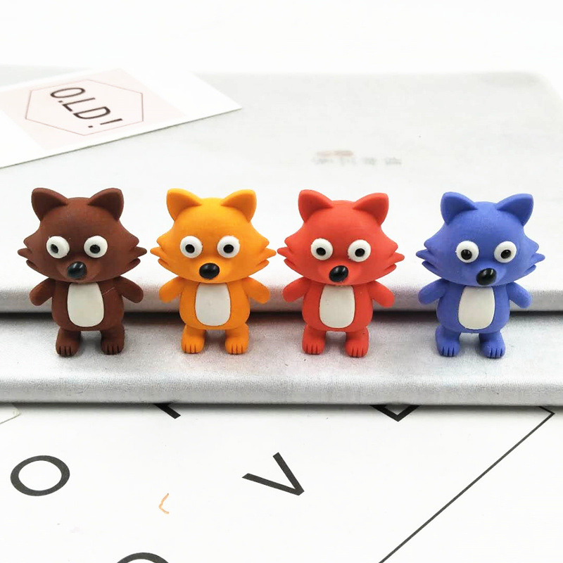 1PC Cute Rubber Erasers Creative Fox Erasers Kawaii Pencil Erasers For Kids Back To School Gifts Office Supplies Stationery