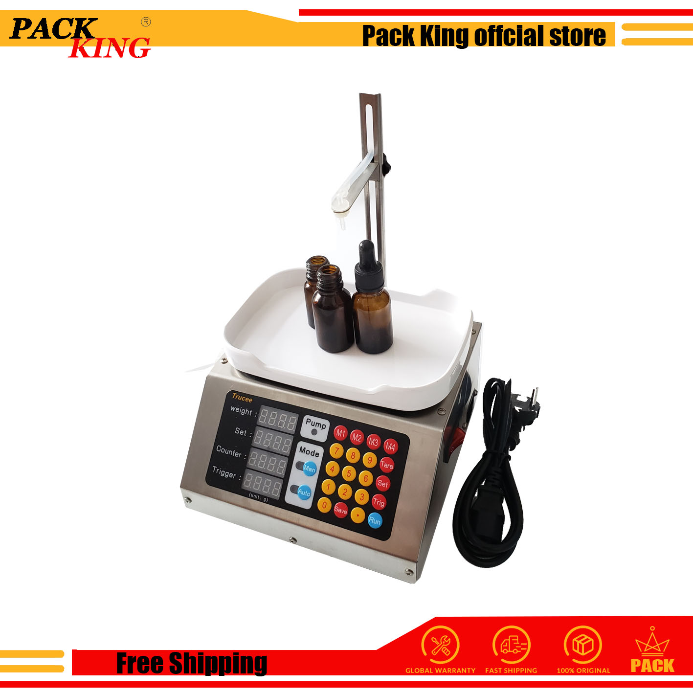 Weighing Peristaltic Pump Filling Machine Electronic Scale Liquid Filler 110v-220v Electric Cigarette Vape 0-50ml Free Shipping