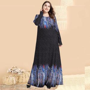 Image 1 - Printed Abaya Muslim Dress Arabic Floral Abayas Kaftan Dubai Maxi Dresses for Women vestidos baju muslim pesta Black+Blue M 4XL