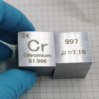 Chromium metal in the periodic table- Cube Side length is one inch (25.4mm) and weight is about 120g 99.7%