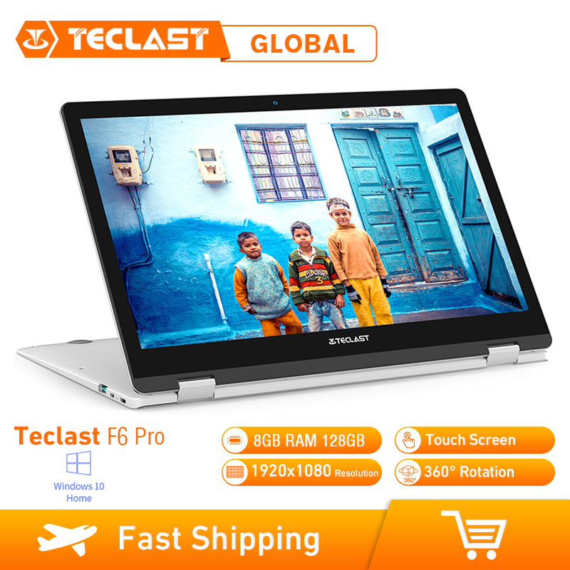 Teclast F6 Pro Laptop 13.3 Touch Screen Windows 10 Intel Core m3-7Y30 Dual Core 8GB RAM 128GB SSD 1920*1080 Notebook Micro HDMI image