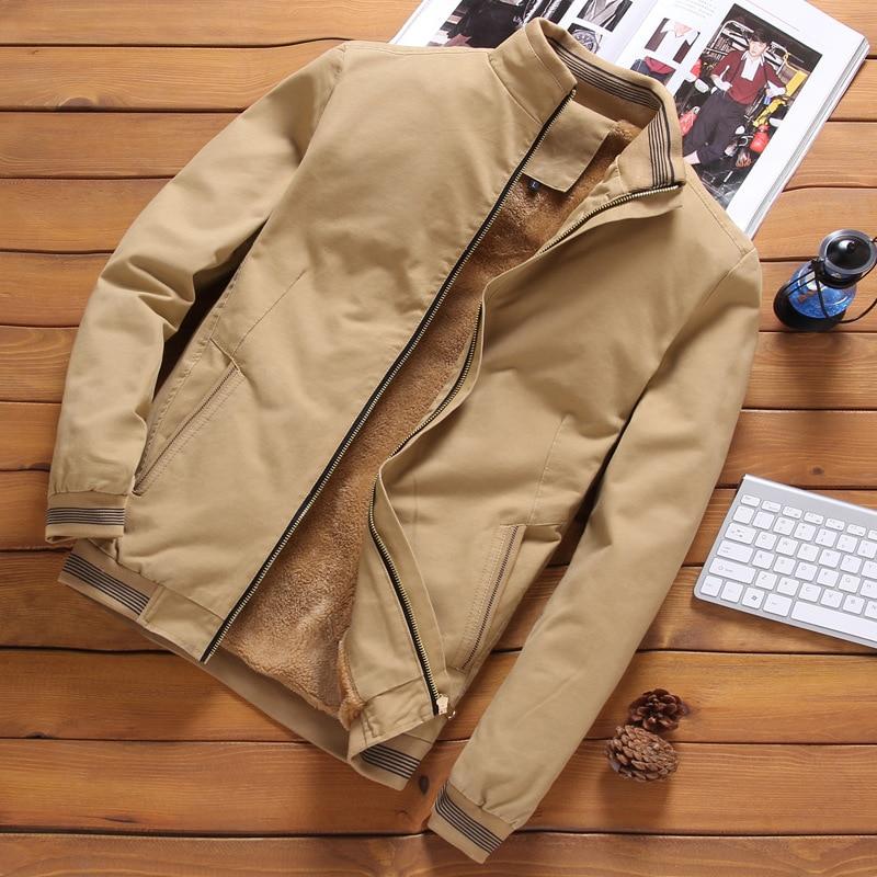 Fleece Thick Warm Jacket Mens 2020 Autumn Winter Mens Warm Bomber Jackets Casual Coats Tops Male Outerwear M-5XL 5