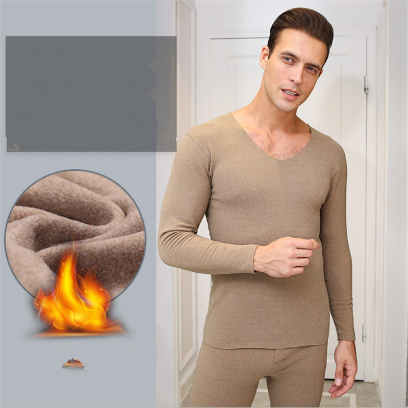 Update double-sided velvet mens V-neck thermal underwear suit constant temperature heating fiber underwear clothes and pants