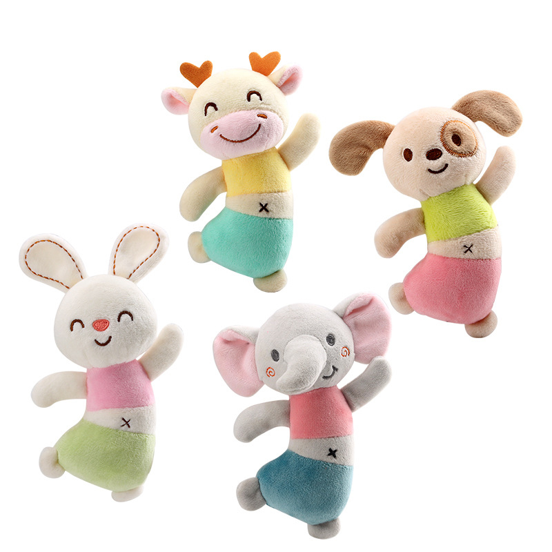 Baby Handbell Rattles Toys Soft Animal Plush Grasping Toddler Toys Early Educational Appease Doll Newborn Toys For 0-12 Months