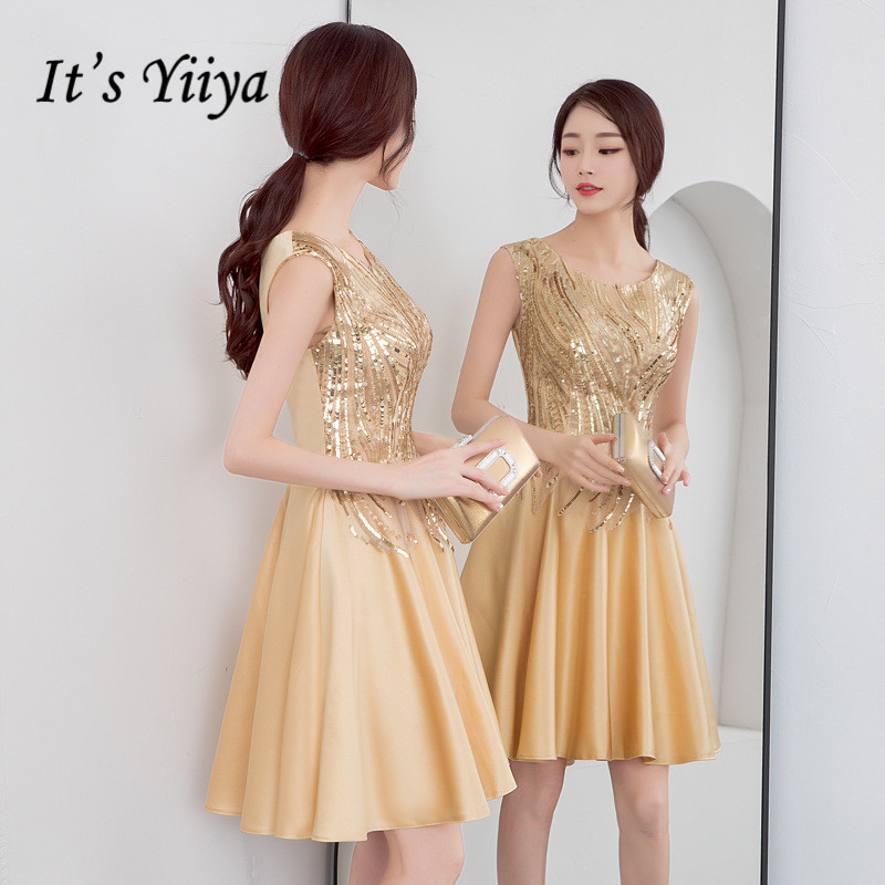 It's Yiiya Prom Dress K188 Gold Sequined O-Neck Sleeveless Formal Dresses Elegant Knee Length Party Gowns Vestidos 2020