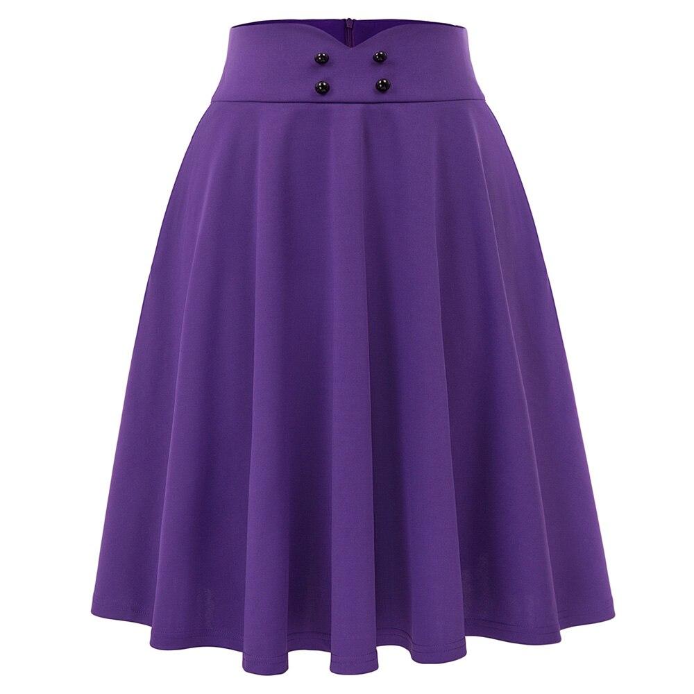 Purple Women Skirt Vintage Retro Elegant Lolita Button Pocket Solid Color High Waist Flared A-Line Knee-length Skater Skirt Lady
