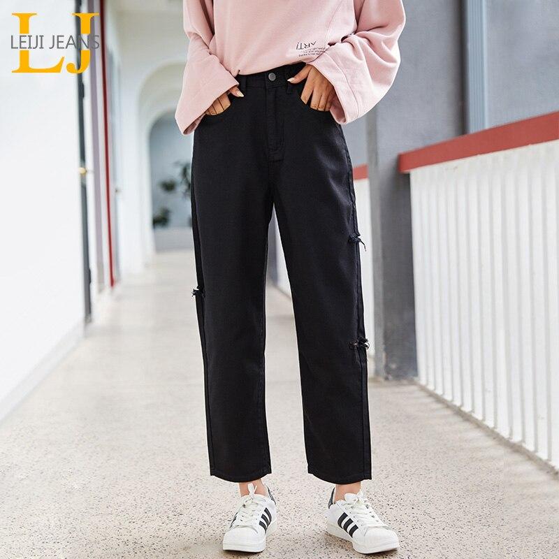 LEIJIJEANS 2019 New Plus Size Women's Non-elastic High Waist Nine Points Jeans Side Cut Loose Casual Black Women Loos Jeans 9123