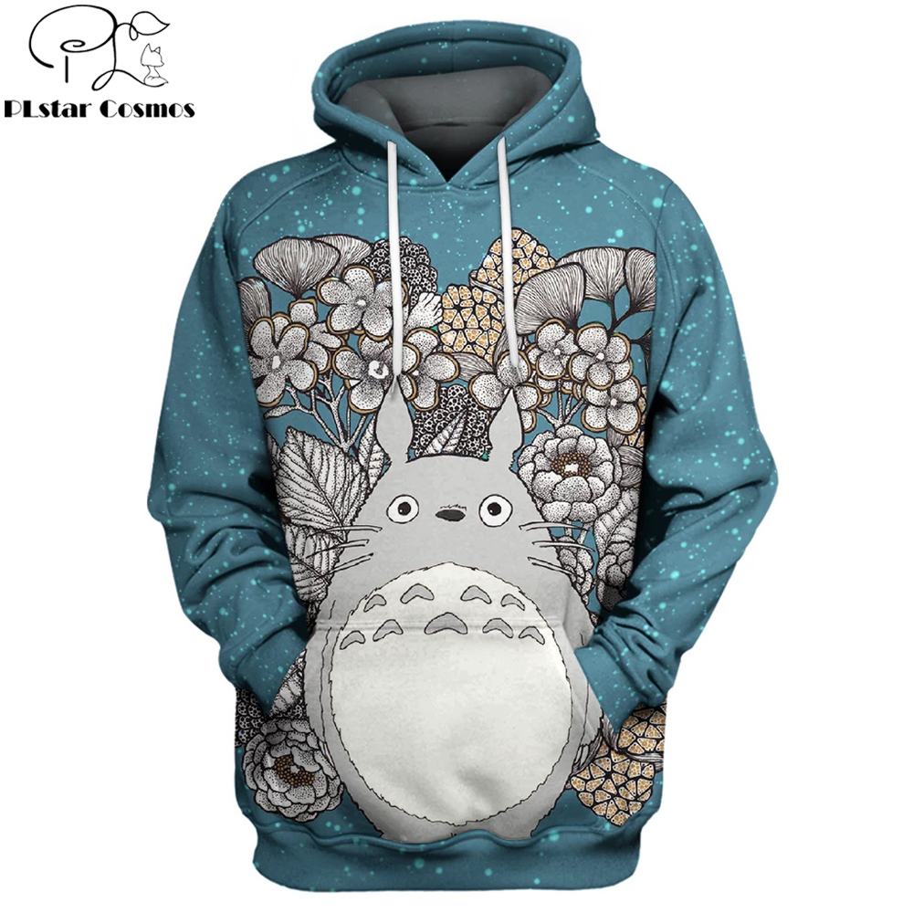 2019 New Fashion Men Women 3d Hoodie My Neighbor Totoro Flower Anime Printed Hoodies/Sweatshirt/jacket Unisex Casual Streetwear