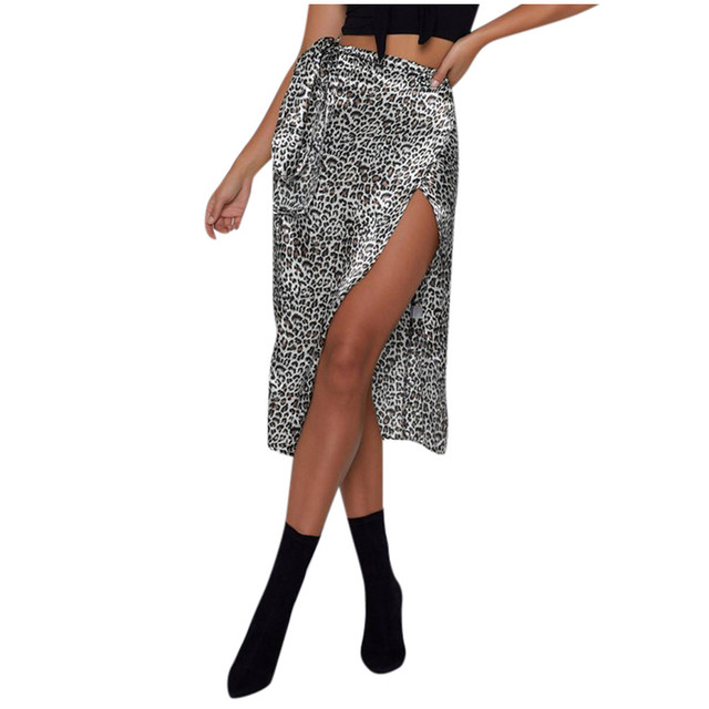Female High Waist Bandage Leopard Printing Wrap Satin Bow Sexy Split Skirts faldas mujer moda юбки женские кожаная юбка 2