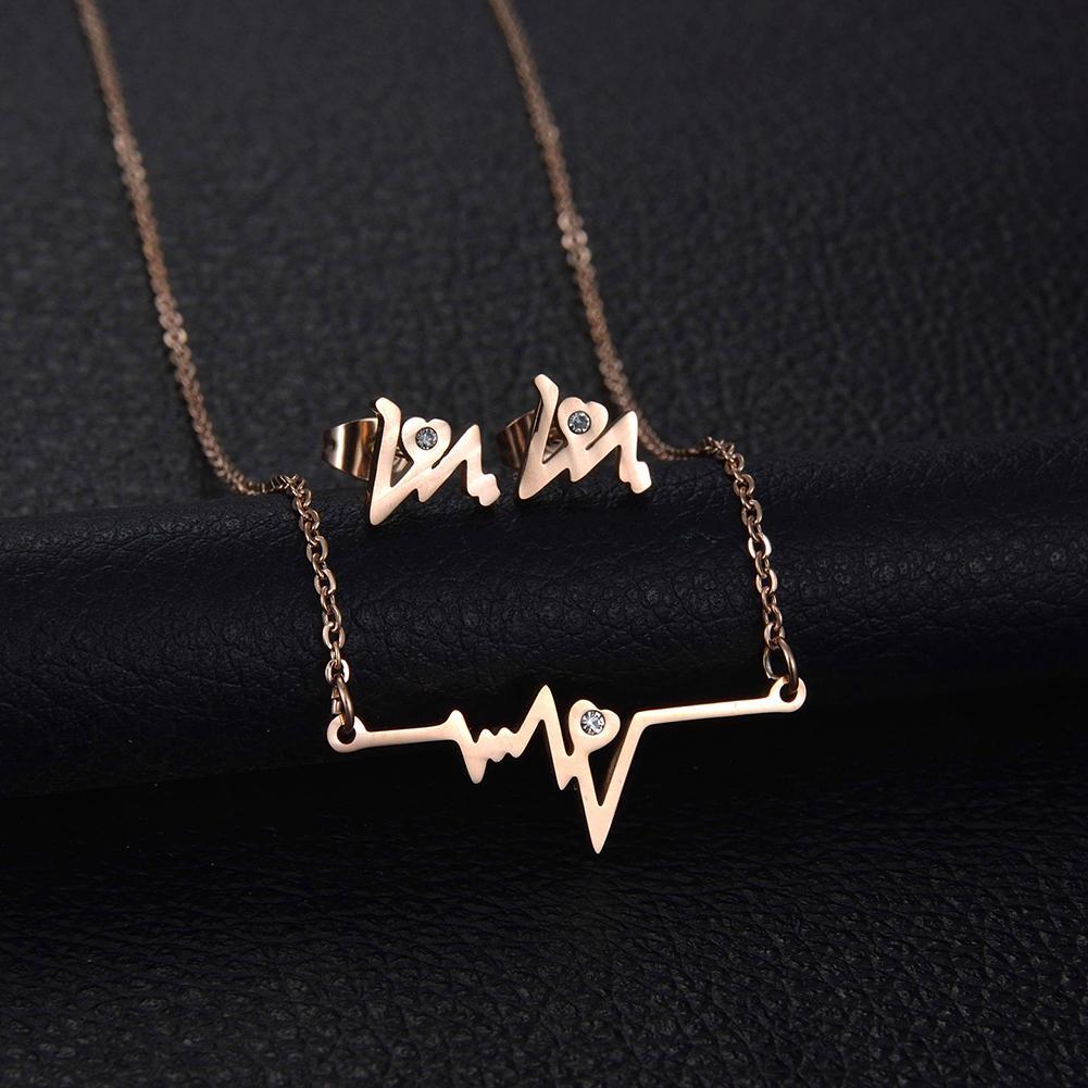 Necklace Earrings Jewelry-Set Gift Rhinestone Fashion New Metal Chic Heartbeat Women