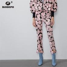купить ROHOPO Side Split Micro Flared High Waist Pink Floral Casual Pencil Pant Autumn Ladies Chic Printed Trousers #9570 по цене 717.75 рублей