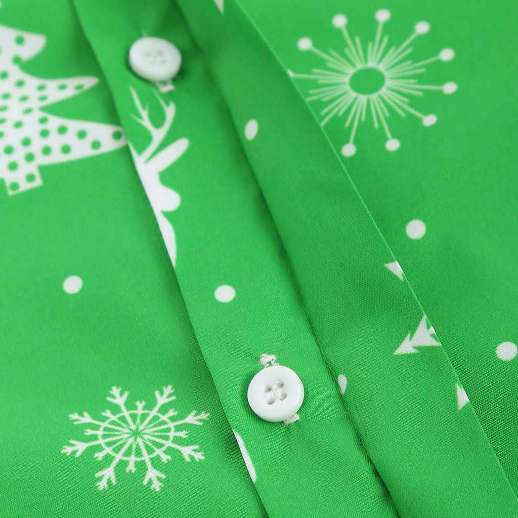 Funnyshirt プリント長袖ボタン男性服カジュアル雪片クリスマス鹿プリントクリスマスシャツ新年パーティーブラウス