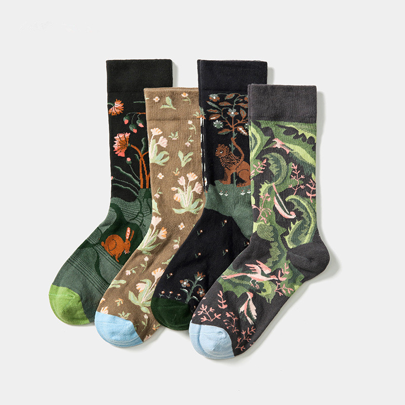 Новинка 2020, носки из чесаного хлопка во французском стиле, женские осенне-зимние жаккардовые повседневные Оригинальные носки для уличного ...