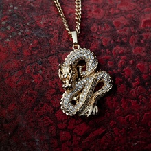 Personality Gold Color Zircon Dragon Necklace Pendant for Men Women Hip Hop Gold Chain Rhinestone Iced Out Necklace Jewelry american cartoon emojis hold guns personality pendant set with zircon hip hop double color necklace accessories
