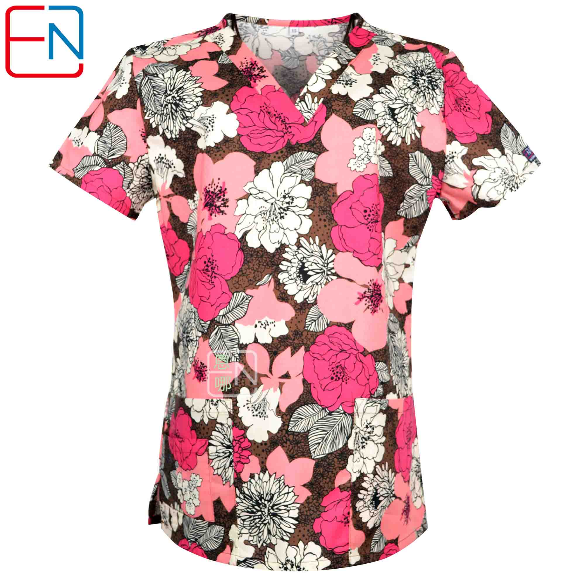 Big Sale Hennar Women Scrub Top With V-Neck 100% Cotton Print Surgical Medical Uniforms Hospital Nurse Scrub Tops For Women