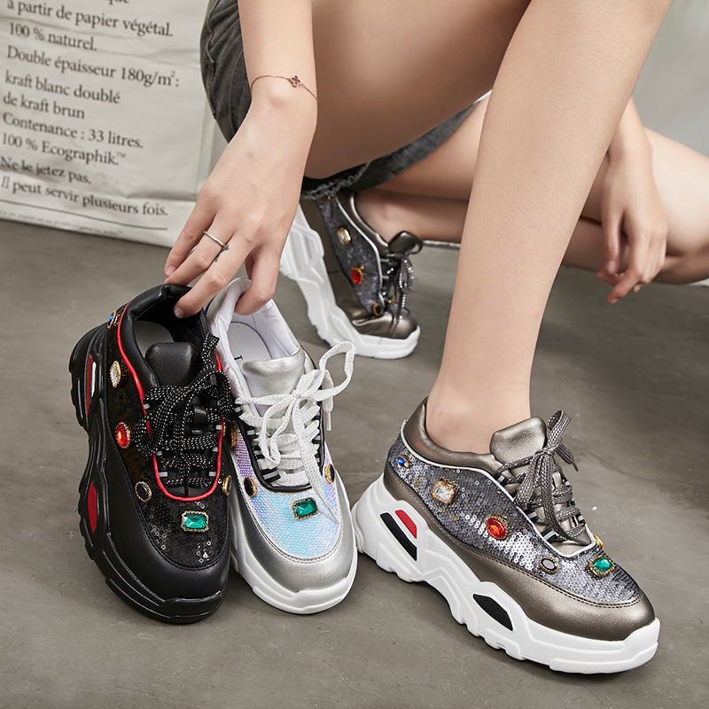Brand Glittering Gemstones Running Shoes Women Height Increasing Sports Sneakers Female Thick Sole High Platform Support Shoes