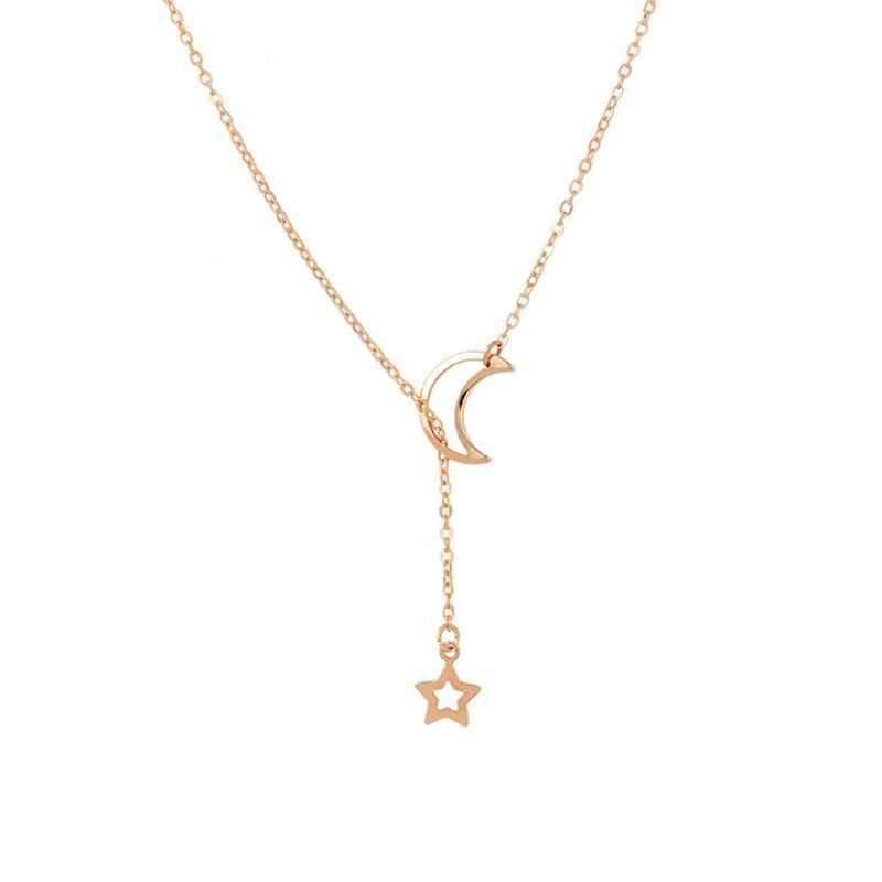 Lariat Halskette Einfache Crescent Stern und Mond Y Anhänger Halskette Mode Schmuck