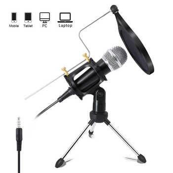 Xiaokoa gravação microfone condensador microfone do telefone móvel 3.5mm jack microfone para computador pc karaoke microfone para telefone