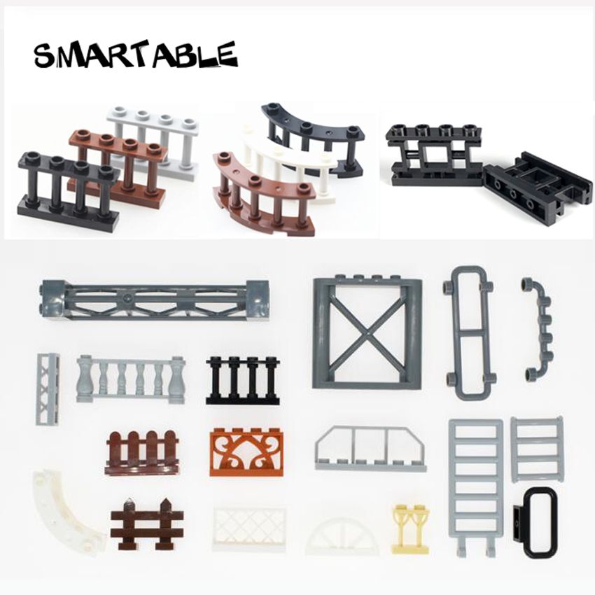 Smartable Fence Wall Bar Ladder Window Building Block MOC Construction Parts Toys For Kids Compatible 3185 6187 30134 City Toy