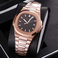 Rose gold mens mechanical sweep watches sapphire glass black dial stainless steel bracelet sports watch Glide sooth second hand