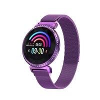 OPQ Smart Bracelet Women Luxury Rhinestones Smart Band Sports Bluetooth Watch 1.04 Inch Round Screen Stylish Smart Wristband M