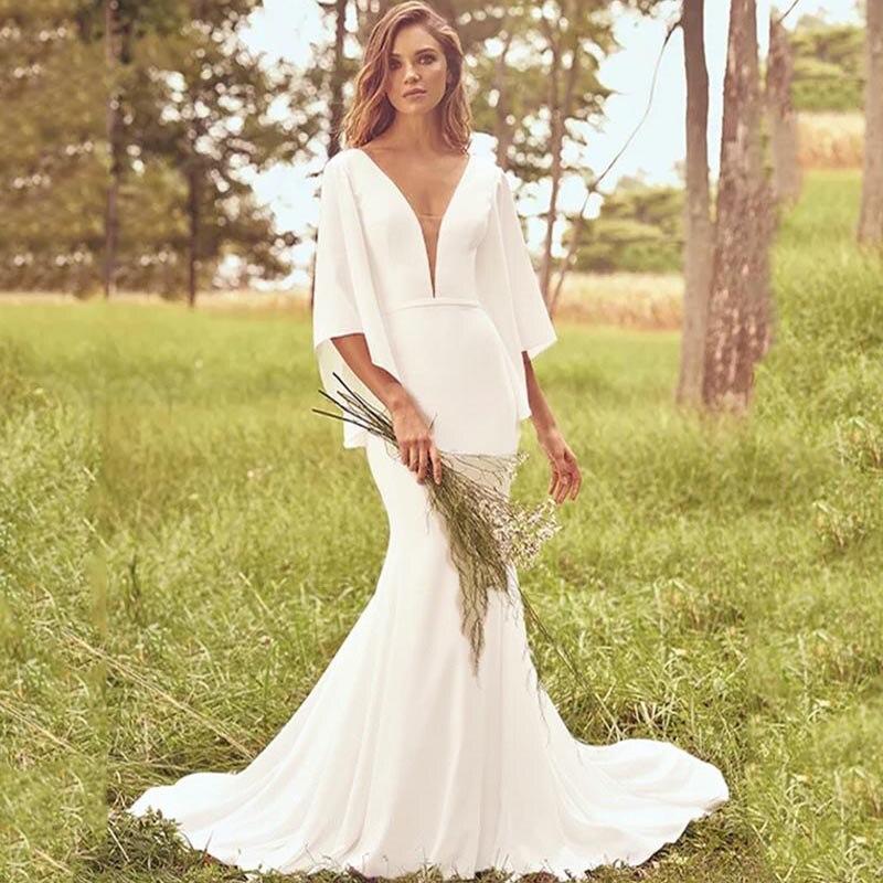 Eightree Batwing Sleeve Wedding Dress Ivory Trumpet Mermaid Wedding Dress Bride Dress Belt Chapel Train 3/4 Sleeve Weeding Gowns