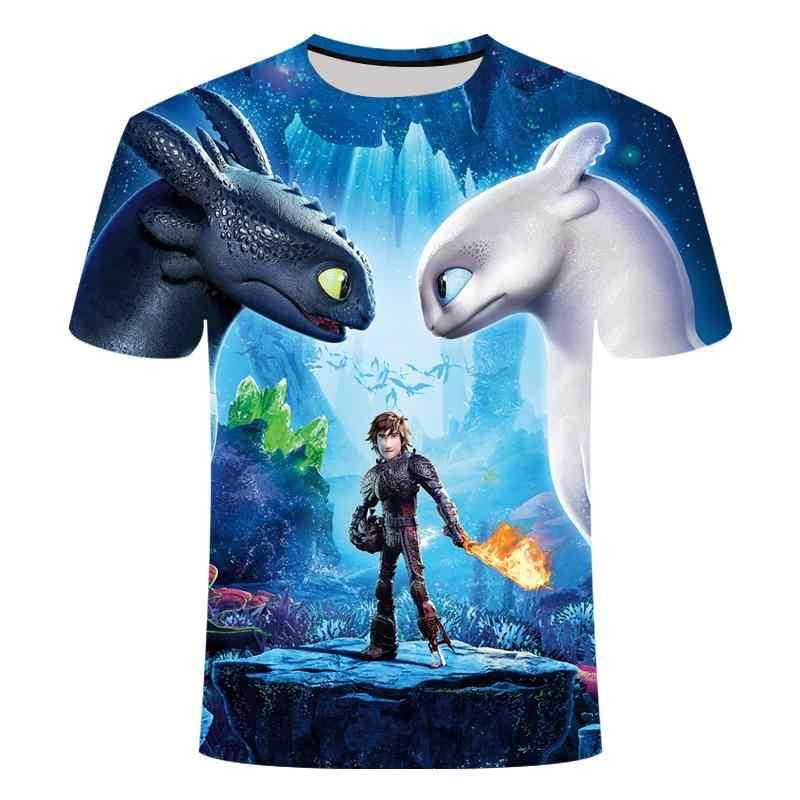2019 estate nuovo prodotto come addestrare il vostro drago 3D stampa per adulti a maniche corte T-Shirt del ragazzo/ragazza T-Shirt del fumetto del anime T-shir