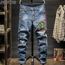 POVOTE jeans men's hip hop trend pants slim pencil locomotive cartoon embroidery design OSK