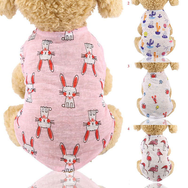Spring Summer Puppy Dog Cat Clothes Breathable Pet Clothing Outfit Supplies For Small Medium Dogs Animal Pattern Dog Vest Tshirt